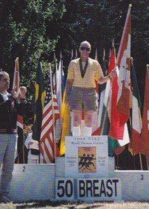 Picture taken on the podium of the 4th World Masters Games in Portland Oregon in Aug., 1998.  It was my only WMG's gold in 20 years, then, and now, ever, and is still an AB. Prov. record in the 55+ AG. I also received a silver in the 100m LC breast.